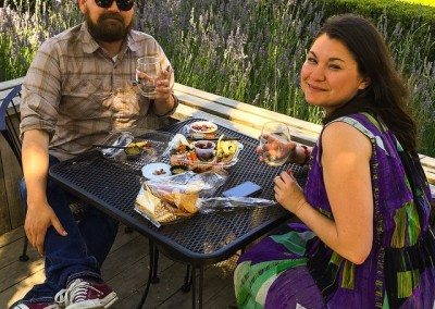 couple dining at winery