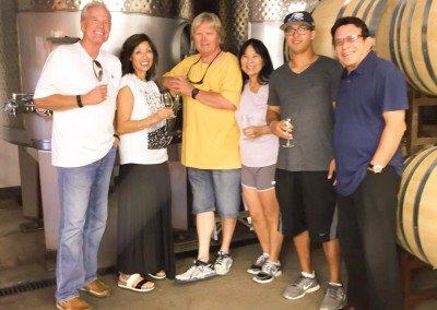 customers near wine barrels